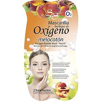 Sys Mascarilla facial burbujas de Oxígeno con extracto de Melocotón y Papaya limpieza profunda y luminosidad Envase 7 ml