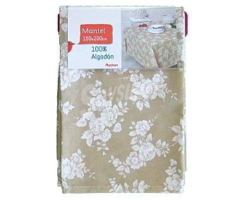 AUCHAN Mantel estampado floral color beige, 100% algodón, 150x200 centímetros 1 Unidad