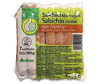 Productos Económicos Alcampo Salchicha tipo frankfurt de cerdo y pavo, sin gluten 160 g