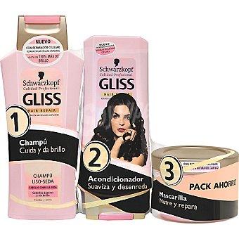 Gliss Pack Liso Seda champú frasco 300 ml + acondicionador + mascarilla Frasco 300 ml