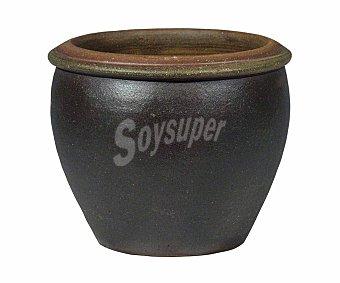 Fansa Maceta de gres tipo campana, transpirable y de color negro fansa