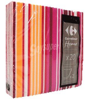 Carrefour 20 servilletas 33X33 cm 2 capas multiraya rojo carrefour