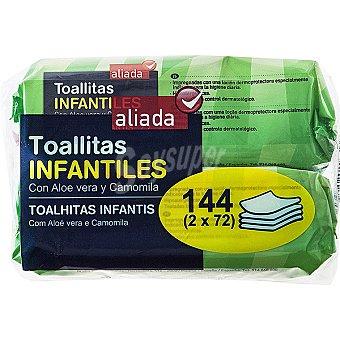 Aliada Toallitas infantiles con aloe vera y camomila Pack 2 envases 72 unidades