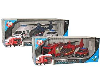 ONE TWO FUN Emergencias Conjunto de 3 vehículos Equipo de urgencias FUN