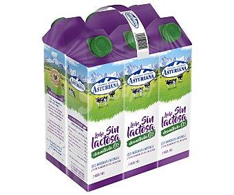 Central Lechera Asturiana Leche sin lactosa desnatada 0% materia grasa Pack 6 uds x 1 l