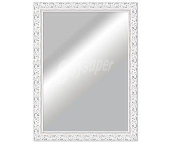 ARTEMA Espejo plano rectangular, marco de madera con acabados en color plata y efecto desgastado, 50x70 centímetros 1 unidad