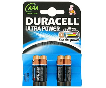 DURACELL Ultra Power Pilas alcalinas LR03 AAA 4 Unidades