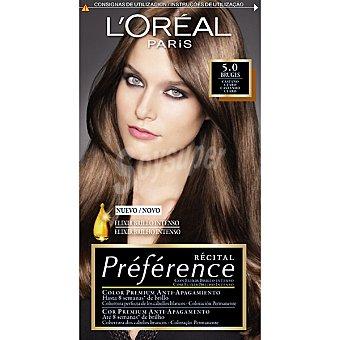 Preference L'Oréal Paris Tinte castaño claro nº 5.0 Burges con elixir brillo intenso coloración permanente Caja 1 unidad