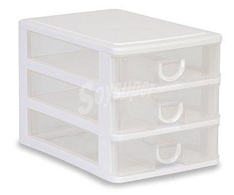 ARAVEN Torre de ordenación modelo Mobel Kit A5 con 3 cajones bajos, fabricada en plástico de color blanco translúcido 1 unidad