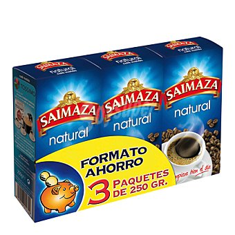Saimaza Cafe molido natural pack de 3x250 g