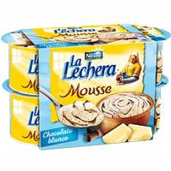 La Lechera Nestlé Mousse de chocolate blanco Pack 4x59 g