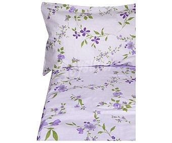 Auchan Funda nórdica 100% algodón con estampado de flores más funda para almohada, color malva, 105 cm. AUCHAN.