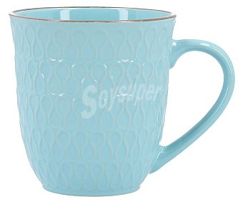 Bidasoa Taza mug de gres de color turquesa con decorado en relieve y capacidad de 40 cl. 40 cl