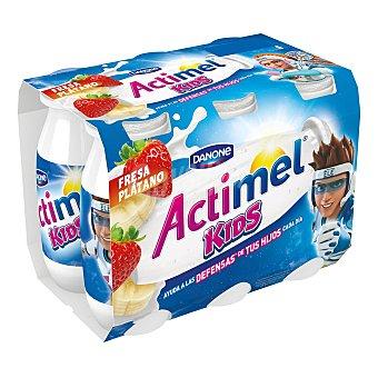 Actimel Danone Yogur Liquido Lactocasei Imunitass con Sabor a Fresa y Plátano 6 unidades de 100 g