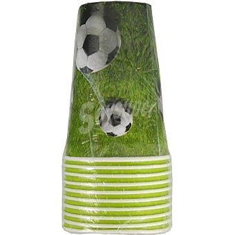 Papstar Vaso de cartón decorado campo de fútbol paquete 10 unidades Paquete 10 unidades