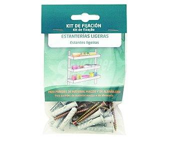 ARREGUI Kit que incluye tacos y tornillos para uso en paredes de material macizo y de albañileria para la fijación de estanterías ligeras 1 unidad