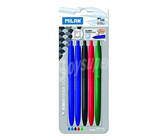 Milan Lote de 5 bolígrafos retráctiles, de grip suave, punta fina y tinta líquida colores azul, negra, roja y verde 1 unidad