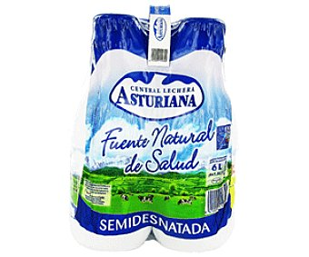 Central Lechera Asturiana Leche Semidesnatada Pack 4x1,5 litros