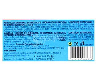 DISNEY LACASA Parasoles (4 unidades) y monedas (3 unidades) de chocolate con leche 52 gramos