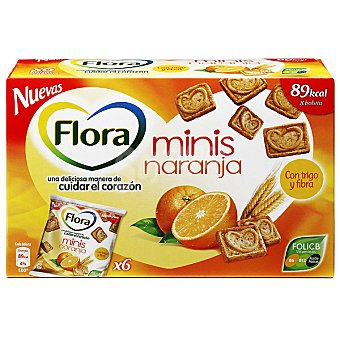 Flora Galletas minis con naranja y trigo Bolsa 120 g