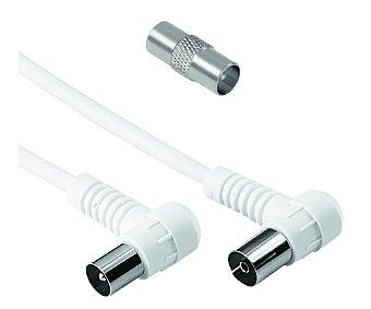 Qilive Cable de coaxial macho a coaxial hembra de 5metros, 80dB de ganancia y terminales de 90º coaxial-coaxial