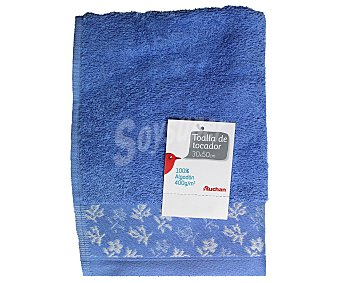AUCHAN Toalla 100% algodón para tocador, estampado jacquard color azul, 30x50 centímetros 1 Unidad