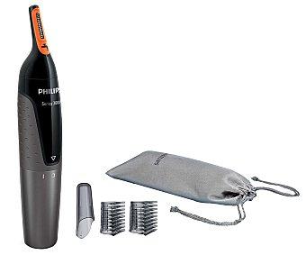 PHILIPS NT3160/10, 2 Maquina para vello de nariz y orejas peines-guía para las cejas, funda, alimentación con pila AA,