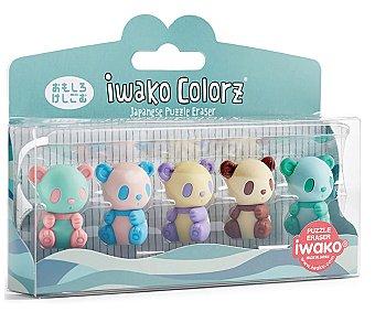 Miquel rius Pack PVC de 5 gomas de borrar puzzle desmontables, miquelrius Colorz Panda