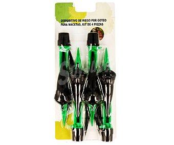 Tresdogar Kit de 4 dispositivo de riego por goteo para macetas, con cánula de fijación de 18 centímetros y de fácil uso, ya que como deposito de agua se utiliza una botella convecional de agua 1 unidad