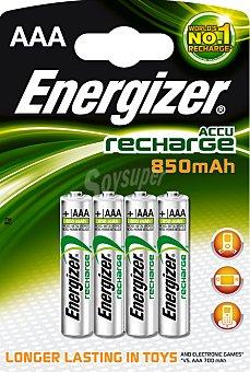 ENERGIZER Recharge Pilas recargables AAA/HR03 850 mah Pack de 4 Unidades