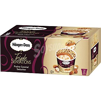 Häagen-Dazs Praline caramel seduction 2 tarrinas individuales Triple Sensations 172 ml