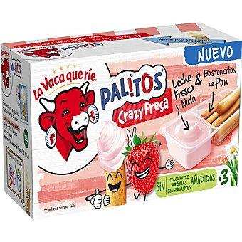 La Vaca que ríe Palitos Crazy crema de queso de fresa con palitos de pan para mojar pack 3 tarrinas Caja 105 g