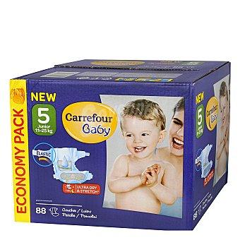 Carrefour Baby Pañal con elástico T5 11-25 kg. 88 unidades