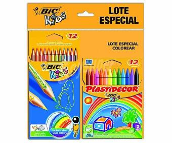 Plastidecor Bic Lápices Más Ceras Especial para Colorear, 12 Pinturas 12 L