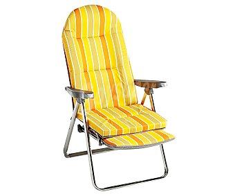 ALCO Tumbona plegable relax con 5 posiciones, fabricada en aluminio, tubo oval de 4x2 centímetros, con asiento de tela alcolchada de 7 centímetros estampada a rayas color amarillo-naranja y reposabrazos liso 1 unidad