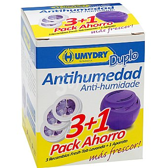 Humydry Antihumedad perfume lavanda recambios + aparato gratis Pack 3