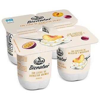 Clesa Bienatur yogur con trocitos de melocotón y maracuyá cremoso Pack 4 unidades 115 g