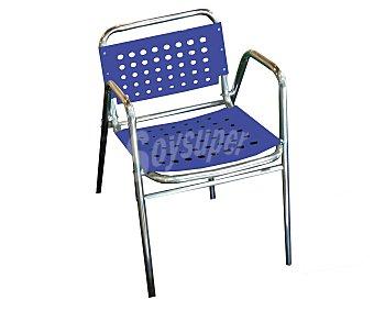 PROFILINE Silla fija para jardín. Fabricada en aluminio con asiento y respaldo de plástico con agujeros, de color azul y medidas: 55x49x74 centímetros 1 unidad
