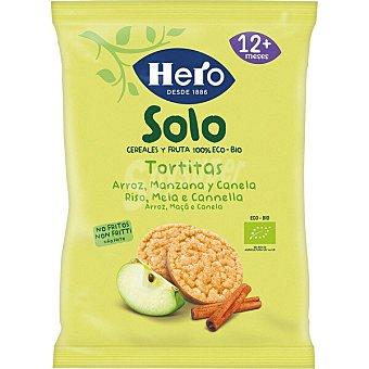 Hero Tortitas de arroz, manzana y canela ecológicas y sin gluten desde 12 meses solo Envase 50 g