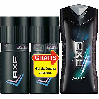 AXE desodorante Marine + regalo gel de baño Apollo frasco 250 ml pack 2 spray 150 ml