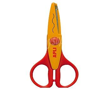 APLI Tijera de 13 centímetros y de color naranja con corte en onda, ideal para realizar tus creaciones en goma EVA 1 unidad