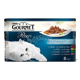 GOURMET PERLE Para gato selección de finas láminas de carne y pescado bolsa 85 g 4 unidades