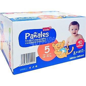 Aliada Pañales unisex de 13 a 18 kg talla 5 elásticos y transpirables 90 unidades (Pack 3 x 30 unidades)