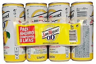 SAN MIGUEL Cerveza rubia sin alcohol 0% con limón 8 unidades de 330 ml (2640 cc)
