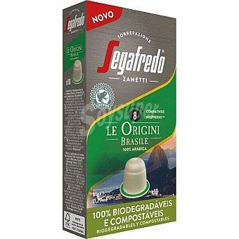 Segafredo Zanetti Le Origini Brasile café 100% arábica intensidad ápsulas compostables y compatibles con Máquinas Nespresso 8 estuche 10 c