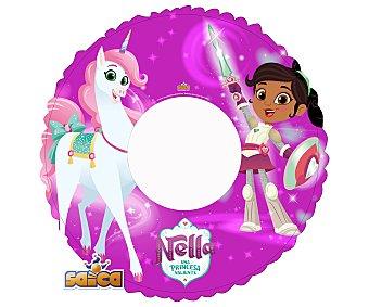 SAICA Nella Flotador hinchable infantil color rosa, 50cm. diseño Nella, Una princesa valiente, SAICA.