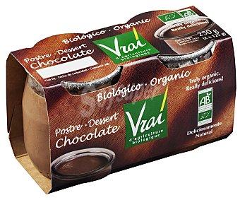 Vrai Postre ecológico de chocolate 2 unidades de 125 g