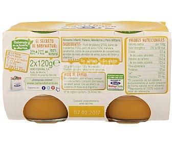 Hero Baby Tarrito de Plátano, Mandarina y Pera 2 Unidades de 130 Gramos