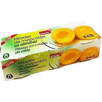 Aliada Melocotón mitades en almíbar neto escurrido Pack 3 latas 115 g