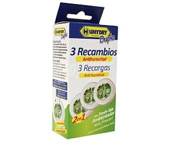 Humydry Recambios de ambientador antihumedad con frescor Pack 3 Unidades de 75 Gramos